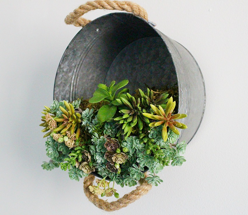 alvanized Bucket Hanging Succulent Planter Our Crafty Mom 5