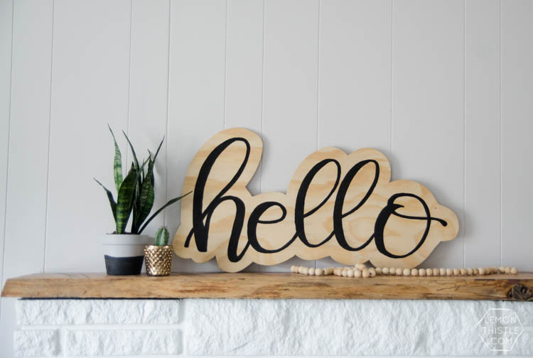 hello plywood sign