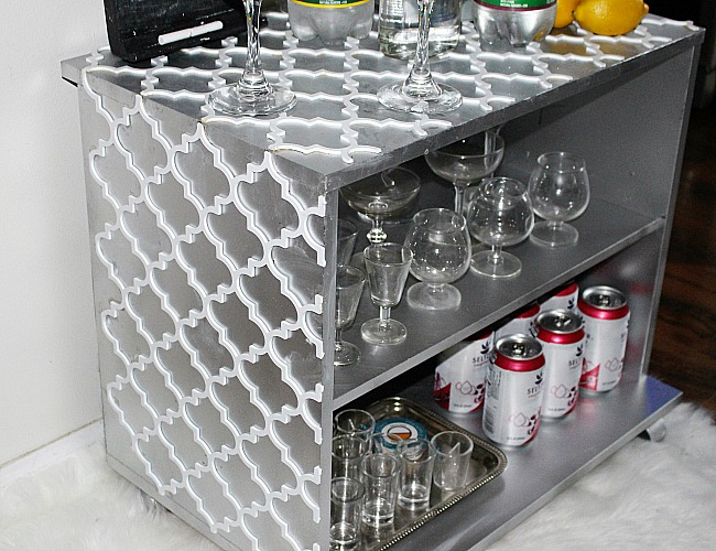 How To Turn An Old Bookshelf Into A DIY Bar Cart Our Crafty Mom 4