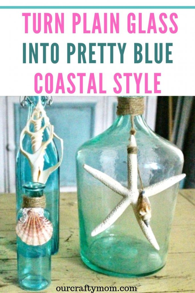 How to turn plain glass into pretty blue vintage style
