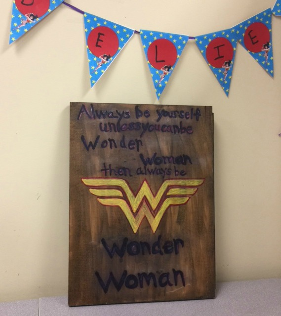 Movie Monday Challenge DIY Wonder Woman Sign Our Crafty Mom