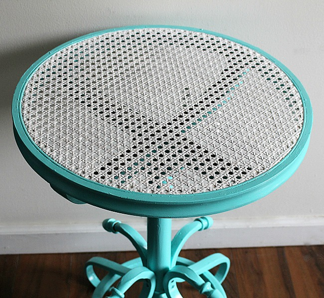 Thrift Store Cane Top Table Makeover Our Crafty Mom 7