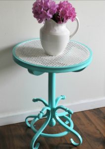 Thrift Store Cane Top Table Makeover In Gorgeous Aqua