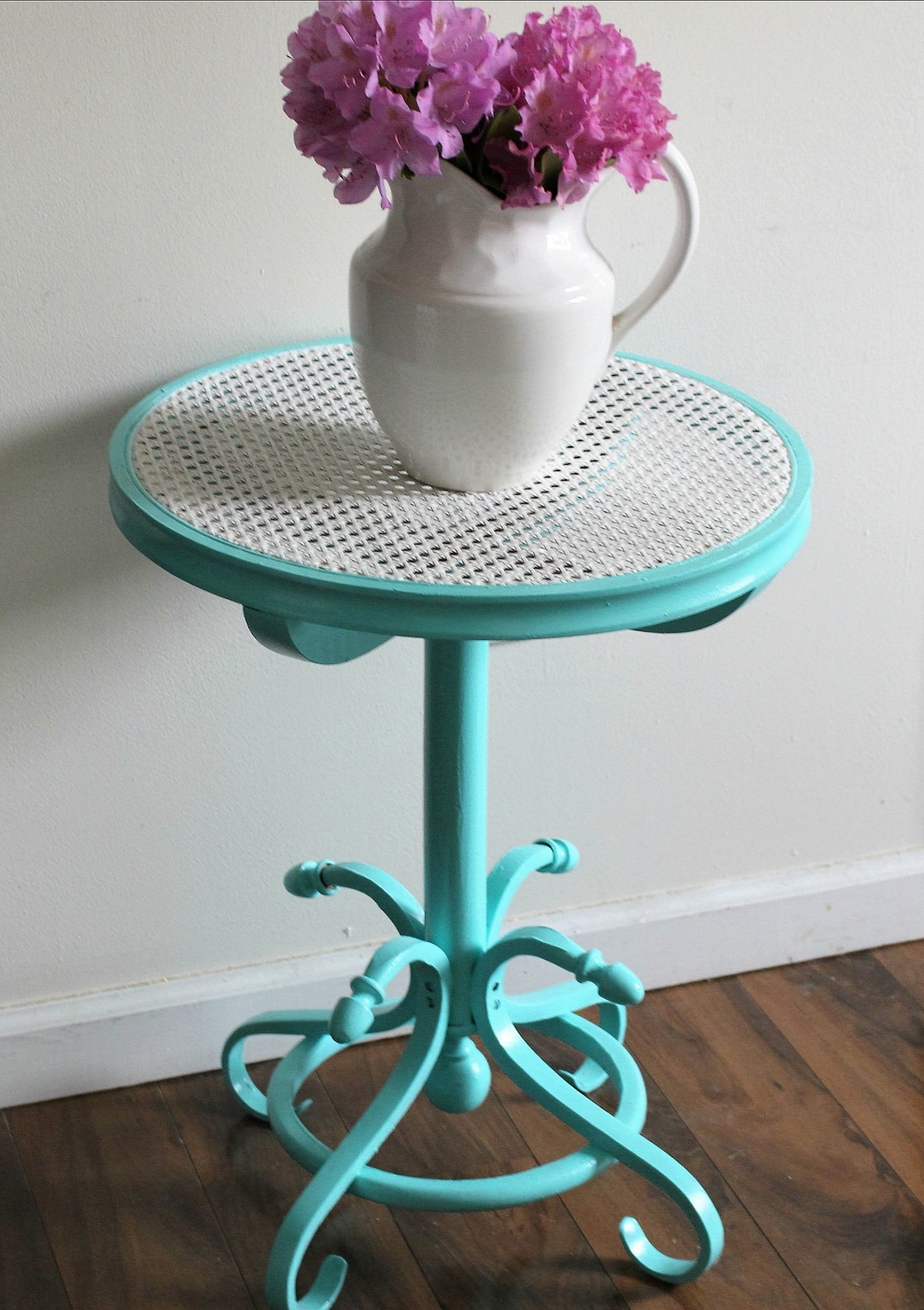 Thrift Store Cane Top Table Makeover Our Crafty Mom 5