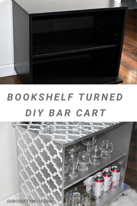 diy bar cart from bookshelf