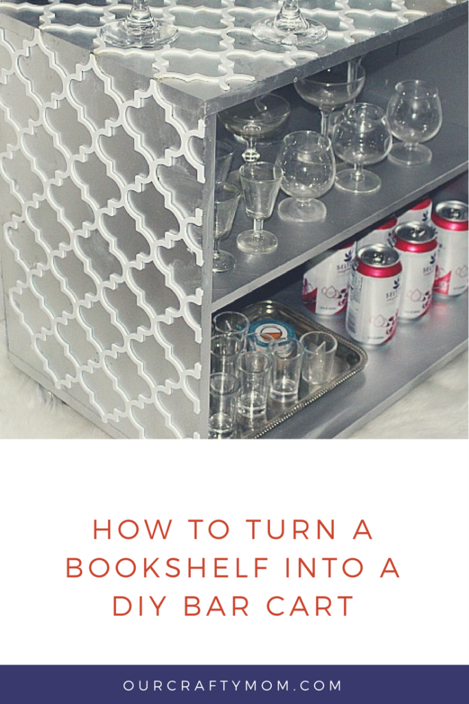how to turn a bookshelf into a diy bar cart Our Crafty Mom pinterest