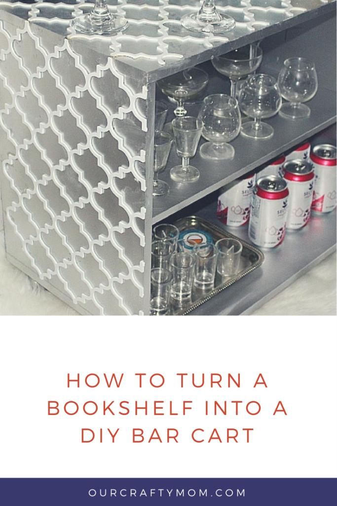 how to turn a bookshelf into a diy bar cart Our Crafty Mom pinterest