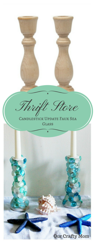 Thrift Store Games DIY Challenge Faux Sea Glass Candlesticks Our Crafty Mom