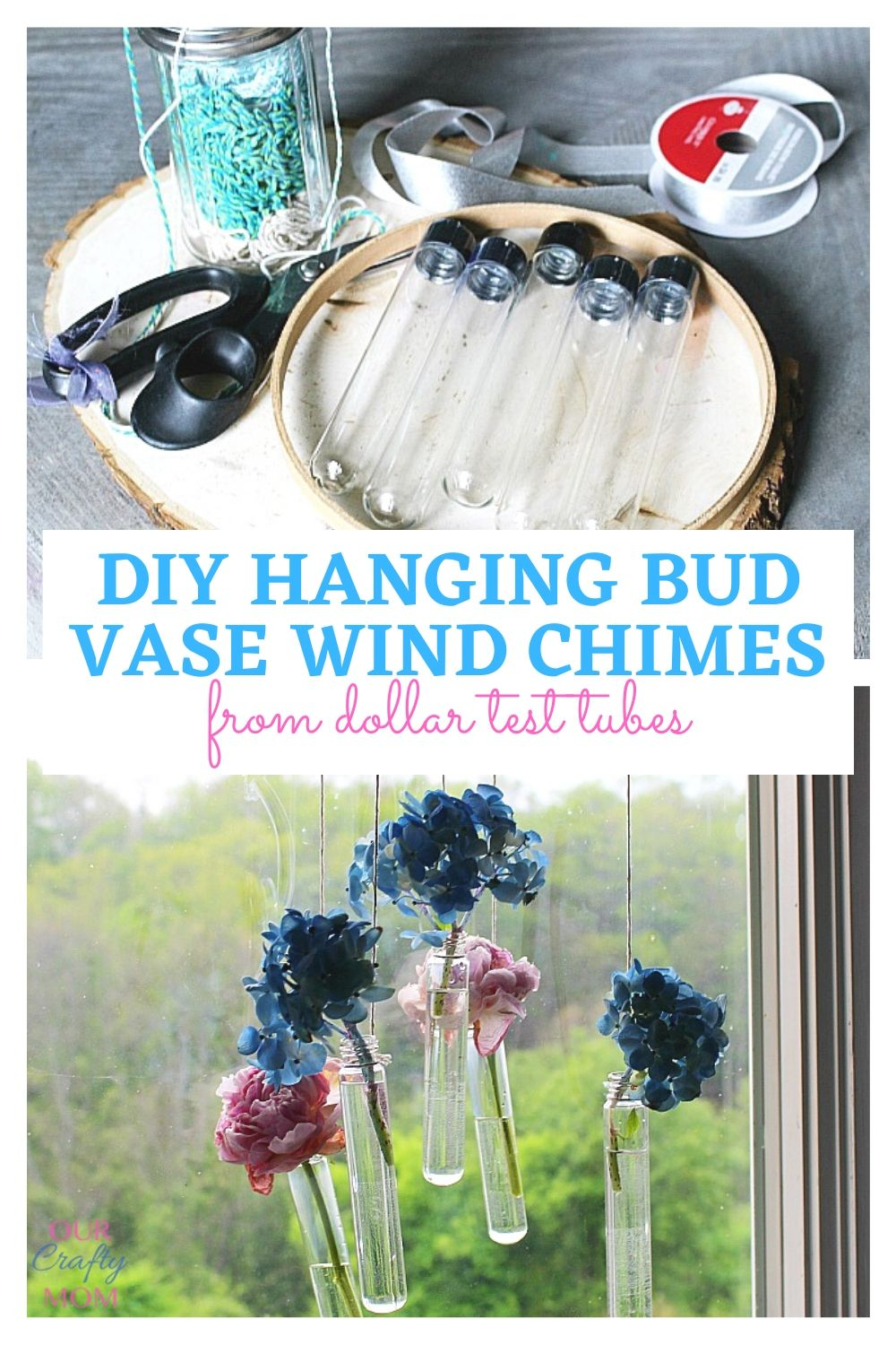 Hanging bud vase wind chimes