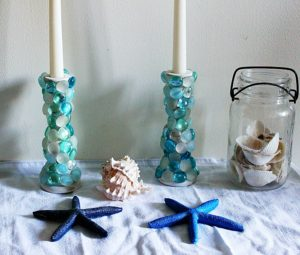 Thrift Games |  DIY Challenge | Faux Beach Glass Candlesticks
