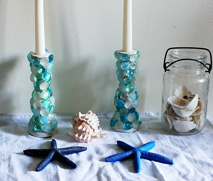 Thrift Games DIY Challenge Faux Beach Glass Candlesticks Our Crafty Mom