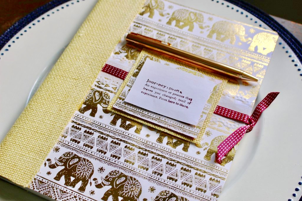 DIY Journal with gold elephants