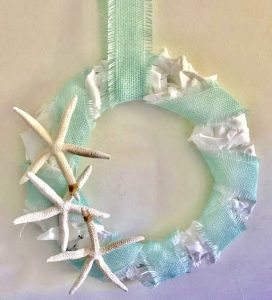 DIY Coastal Burlap Starfish Wreath