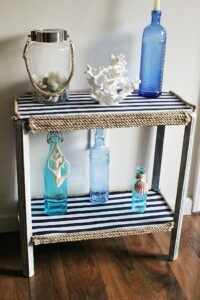 Nautical Striped Side Table Makeover