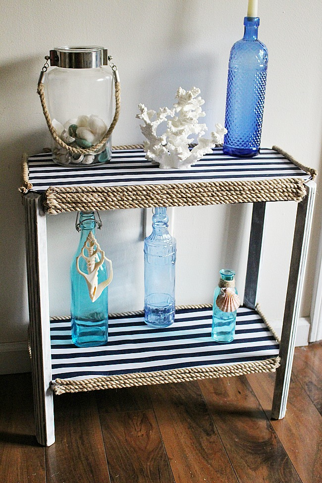 Nautical Side Table Makeover Our Crafty Mom 5