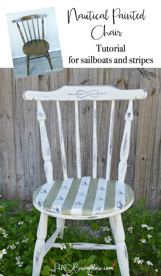 Sailboats and Stripes DIY Nautical Accent Chair - H2O Bungalow - HMLP 144 Feature
