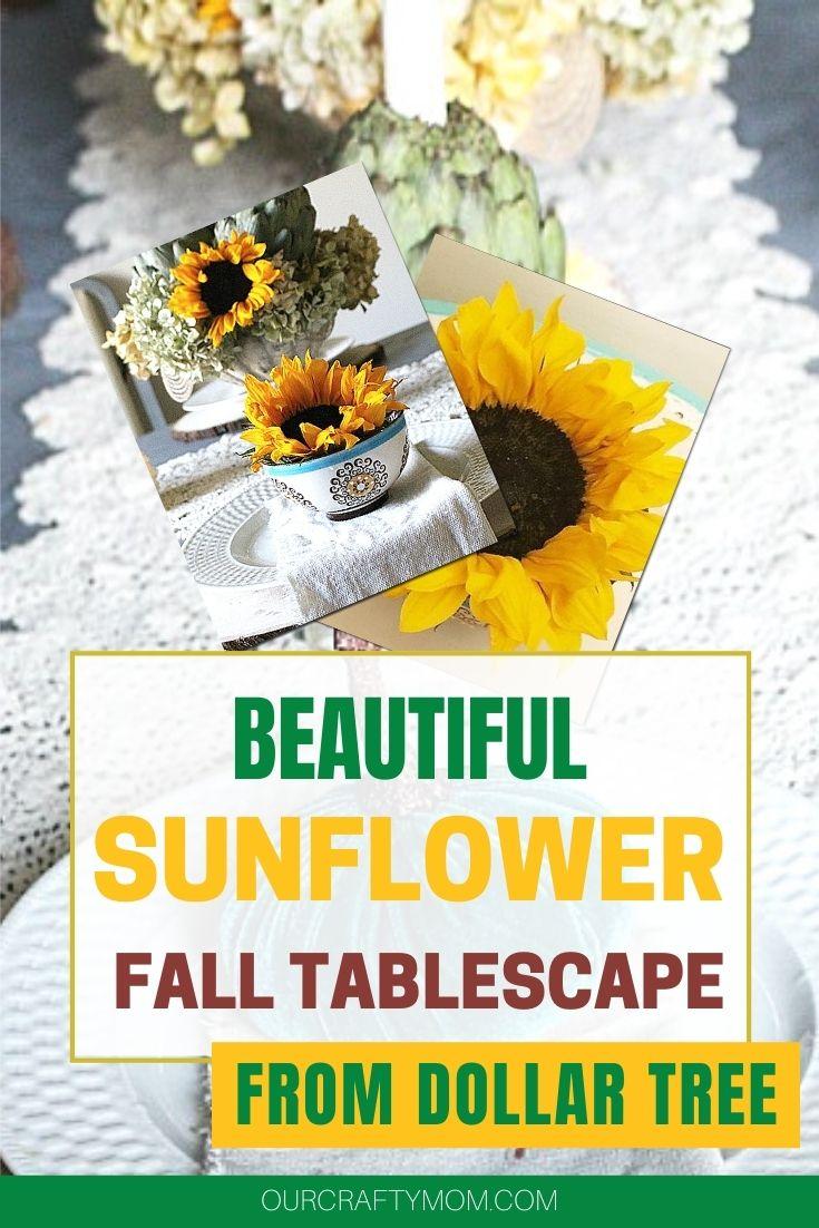 sunflower tablescape with artichokes