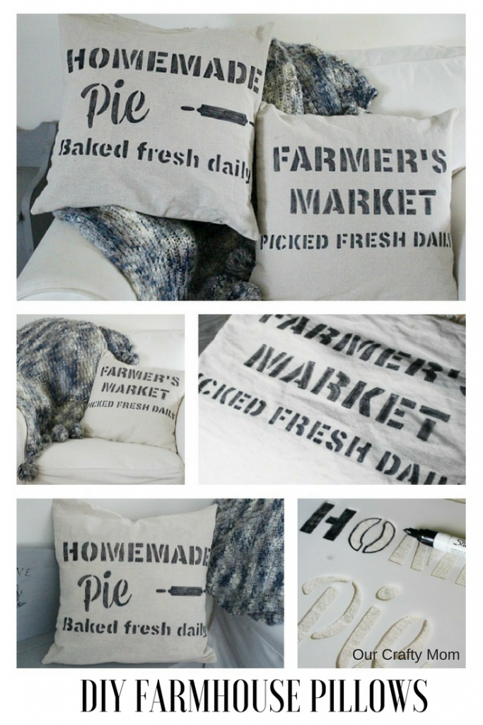 We are back with our Monthly Crafty Destash challenge and I am sharing DIY Farmhouse Stenciled Pillows Our Crafty Mom