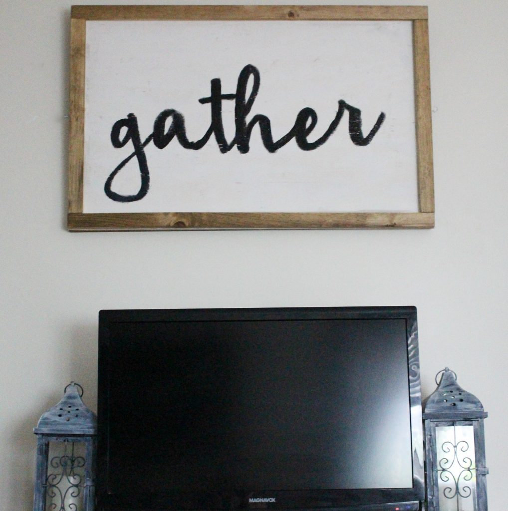 DIY Farmhouse Style Gather Sign Our Crafty Mom