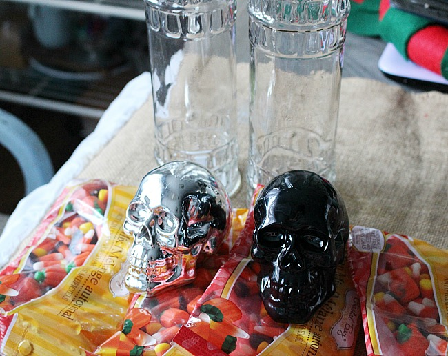 Dollar Store Halloween Crafts - Skull Candy Jar - Our Crafty Mom