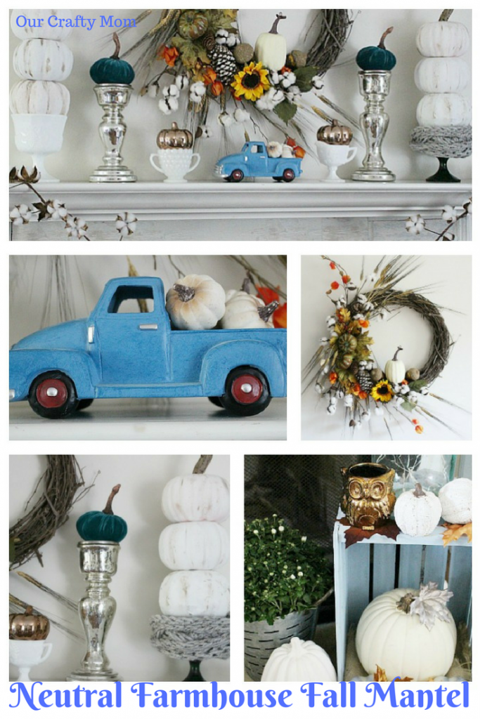 Neutral Farmhouse Style Fall Mantel Our Crafty Mom