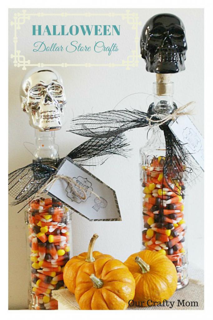 Dollar Store Halloween Crafts Skull Candy Jar Our Crafty Mom