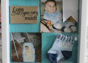 DIY Baby Shadow Box-Monthly Craft Destash Challenge Our Crafty Mom