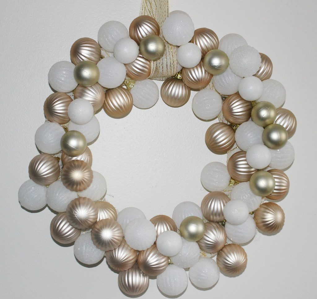 Make A Rose Gold White Dollar Tree Ornament Wreath Our Crafty Mom
