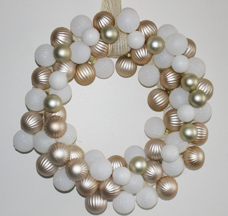 Make A Rose Gold & White Dollar Tree Ornament Wreath
