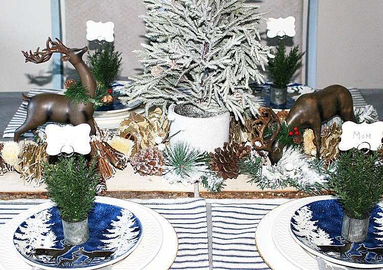 Create A Woodland Themed Tablescape Our Crafty Mom #christmastablescape #christmas