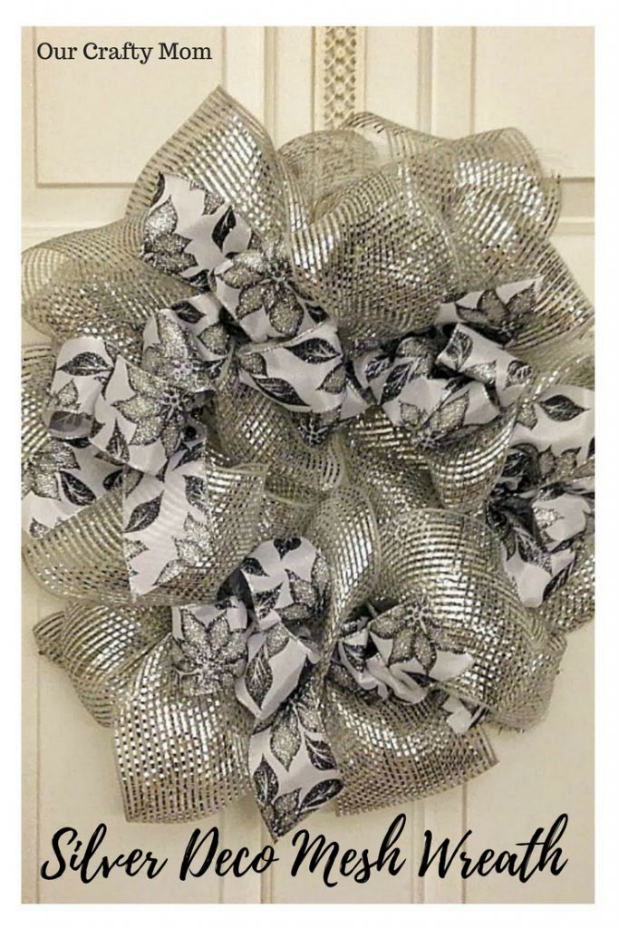 How To Make A SIlver Deco Mesh Christmas Wreath Our Crafty Mom #12daysofchristmas #christmaswreath