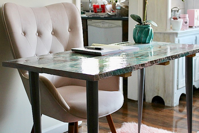 How To Make A Beautiful Epoxy Resin Desk Our Crafty Mom #epoxyresin