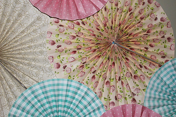 Create A Beautiful Feature Wall With Paper Fans Our Crafty Mom #craftroommakeover