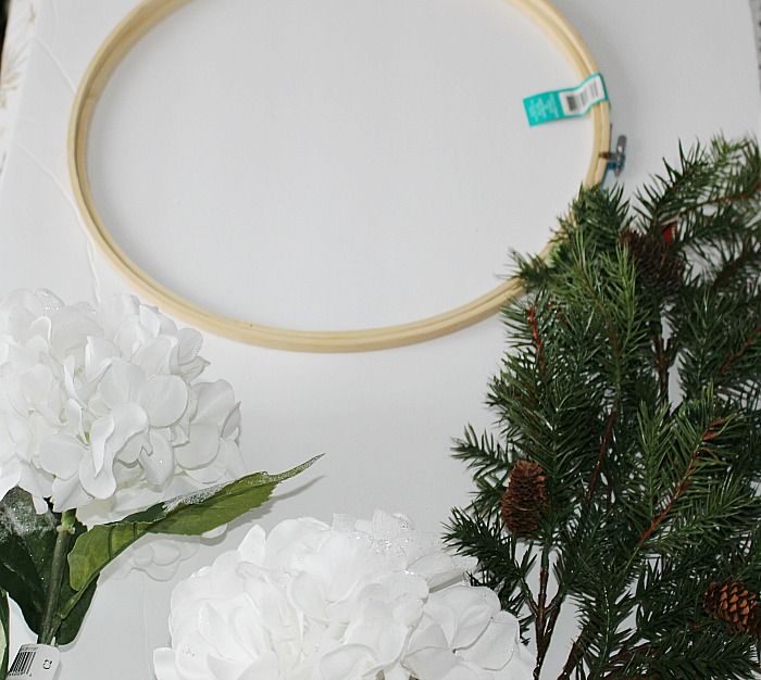 DIY Embroidery Hoop Winter Wreath Our Crafty Mom #winterwreath #embroideryhoop #craftdestashchallenge