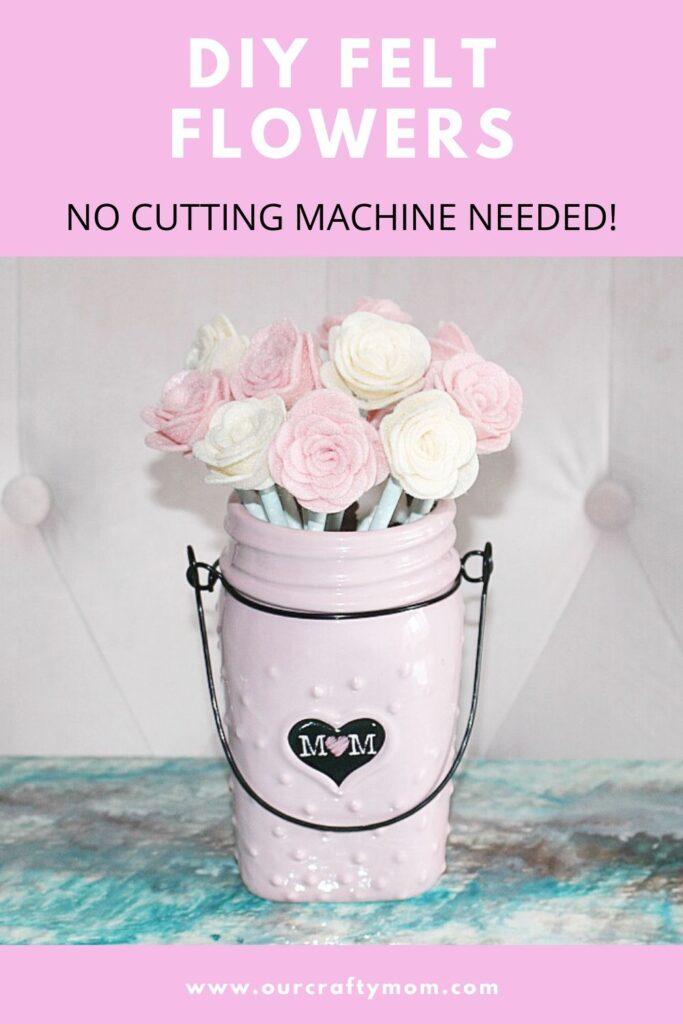 DIY FELT FLOWERS in pink vase