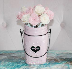 felt roses made with cricut in a pin mason jar