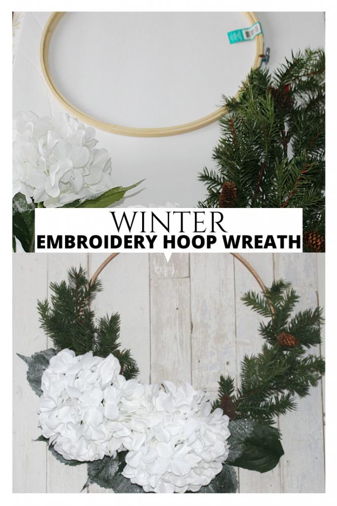 winter embroidery hoop wreath