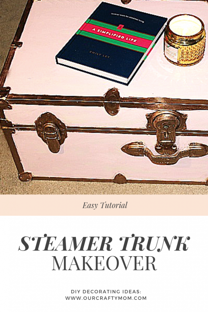 pink and metallic gold steamer trunk