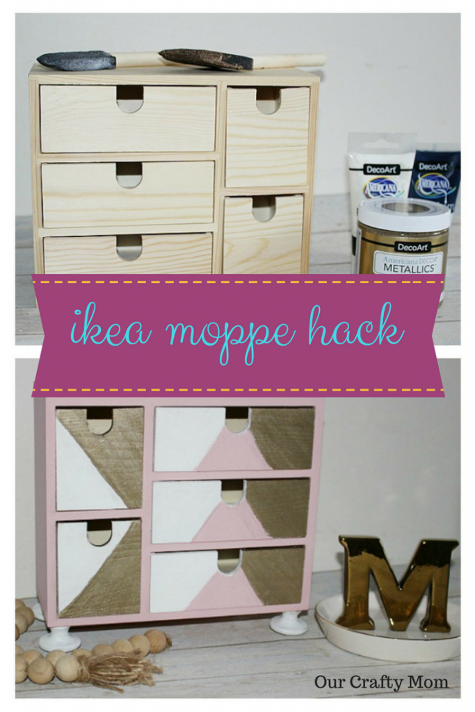 IKEA Moppe Mini Chest Of Drawers Hack Our Crafty Mom #pinterestchallenge #ikeahack #ikeamoppe