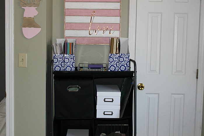 My Pretty In Pink And Gold DIY Craft Room Our Crafty Mom #craftroommakeover