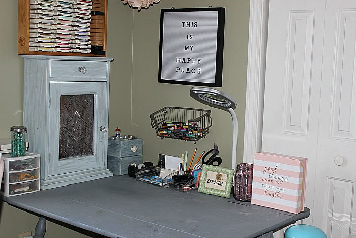 My Pretty In Pink And Gold DIY Craft Room Our Crafty Mom #craftroommakeoverchallenge #diycraftroomidea