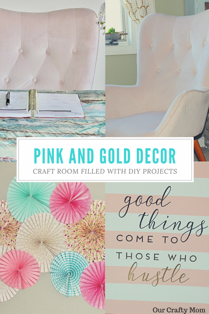PINK AND GOLD CRAFT ROOM Our Crafty Mom #pinkandgolddecor #craftroom