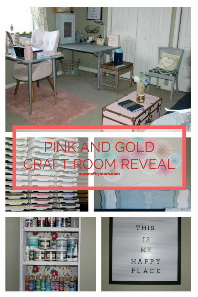 My Pretty In Pink And Gold DIY Craft Room Our Crafty Mom #craftroomchallenge #pinkandgolddecor