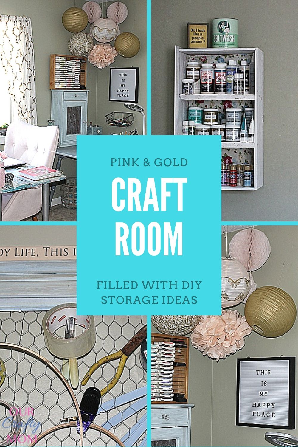 diy pink and gold craft room and office