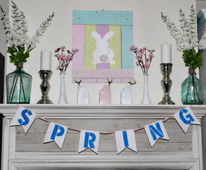 Easy Ideas For A Bright And Fun Spring Mantel - Our Crafty Mom #springmantel #eastermantel #decorateyourmantel #springdecorating #easterdecor