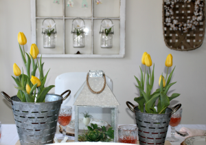 Set A Modern Farmhouse Style Spring Tablescape