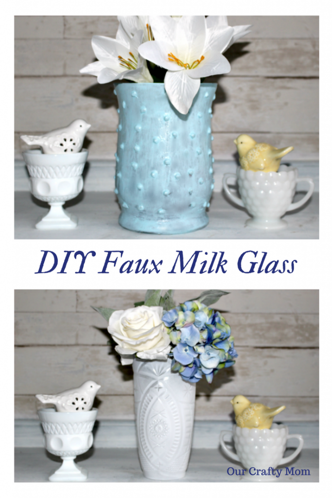 Easy To Make Beautiful Faux Hobnail Milk Glass Our Crafty Mom #milkglass #fauxmilkglass #hobnailmilkglass #farmhousehens