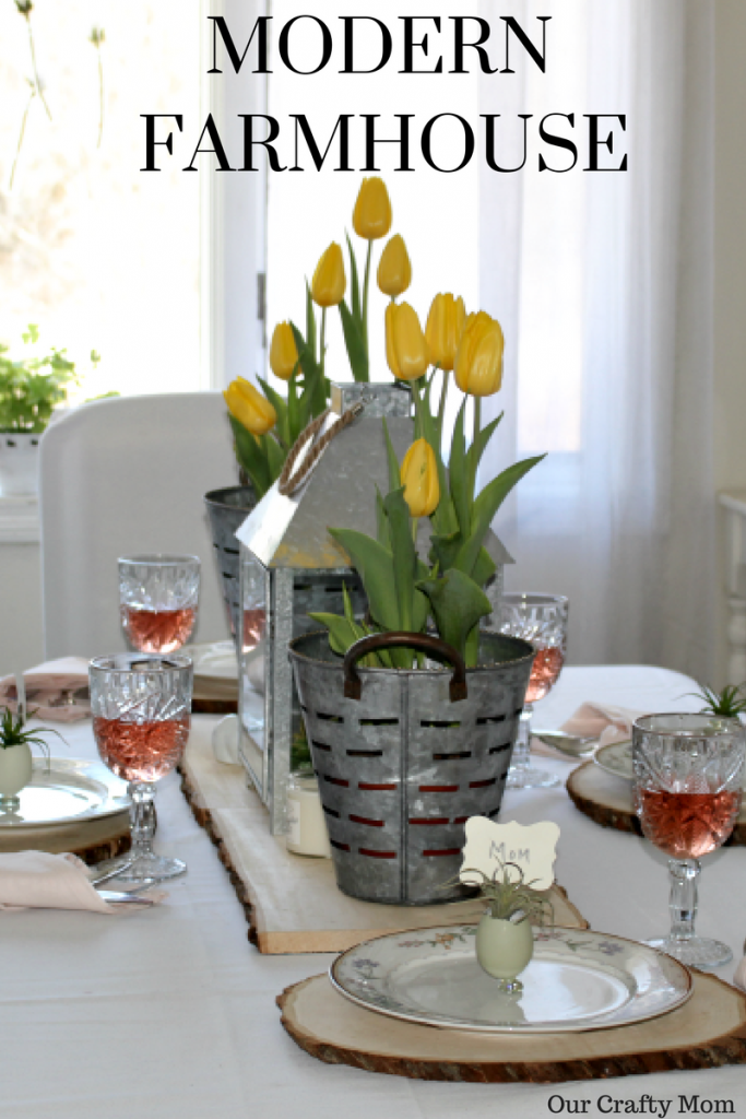 Set A Modern Farmhouse Style Spring Tablescape Our Crafty Mom #springtablescape #farmhousestyle #farmhousedecor
