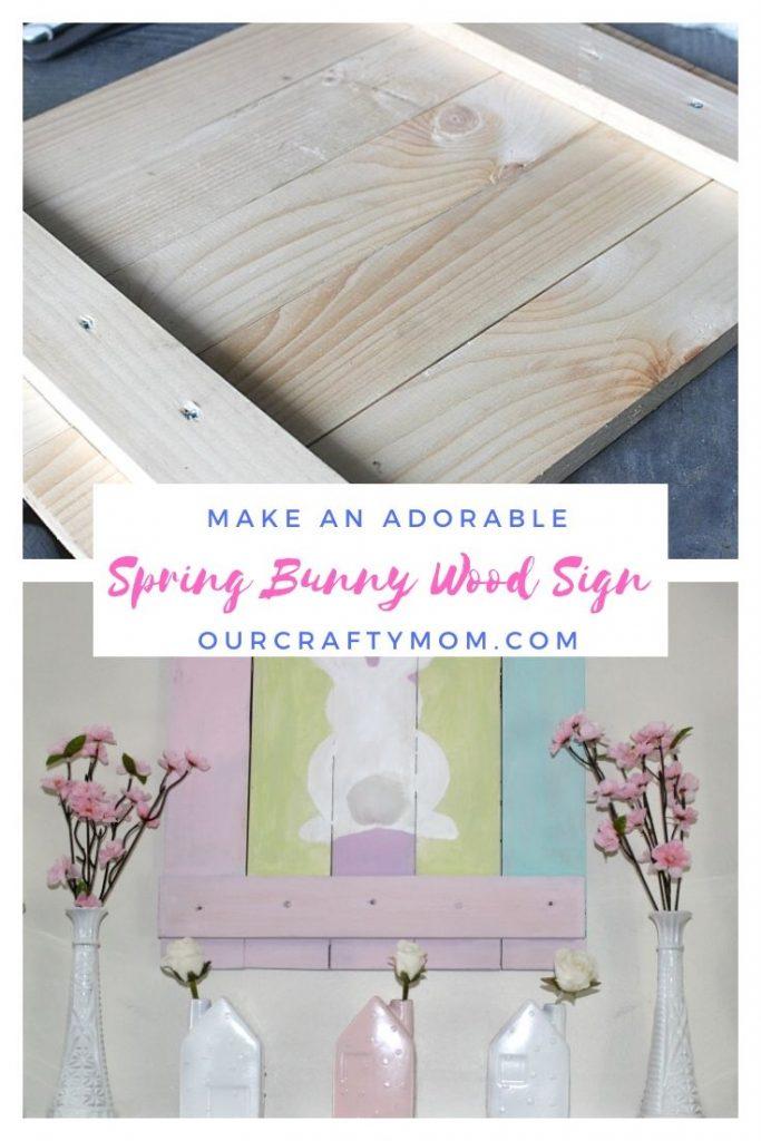 spring bunny pallet wood sign
