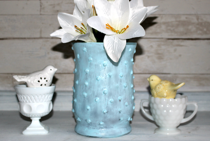 Easy To Make Beautiful Faux Hobnail Milk Glass Our Crafty Mom #milkglass #fauxmilkglass #hobailmilkglass #farmhousehens